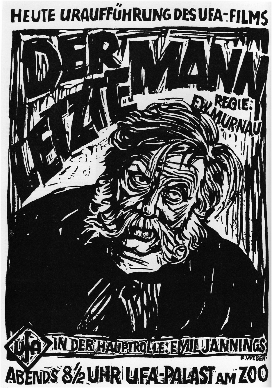 Affiche dessinée pour première du film de Murnau der letzte Mann
