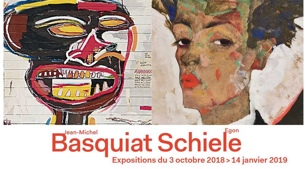 Affiche pour exposition Basquiat et Schiele avec autoportrait de Schiele