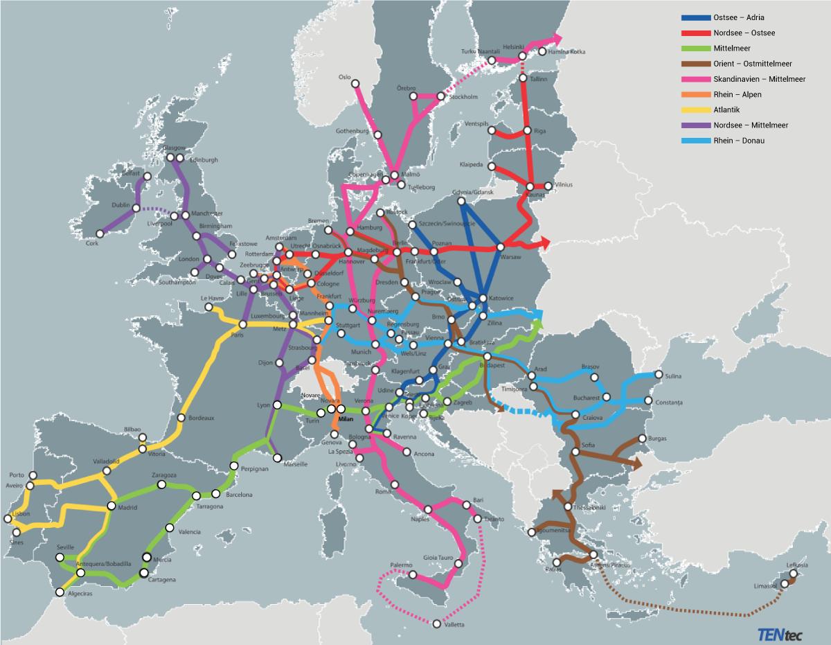 Die 9 Transportkorridore des Gesamtnetzwerks des TEN-V