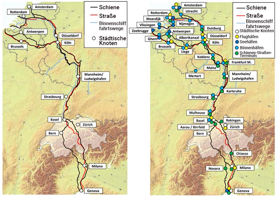 Der Rhein-Korridor, ein Strang von Infrastrukturen