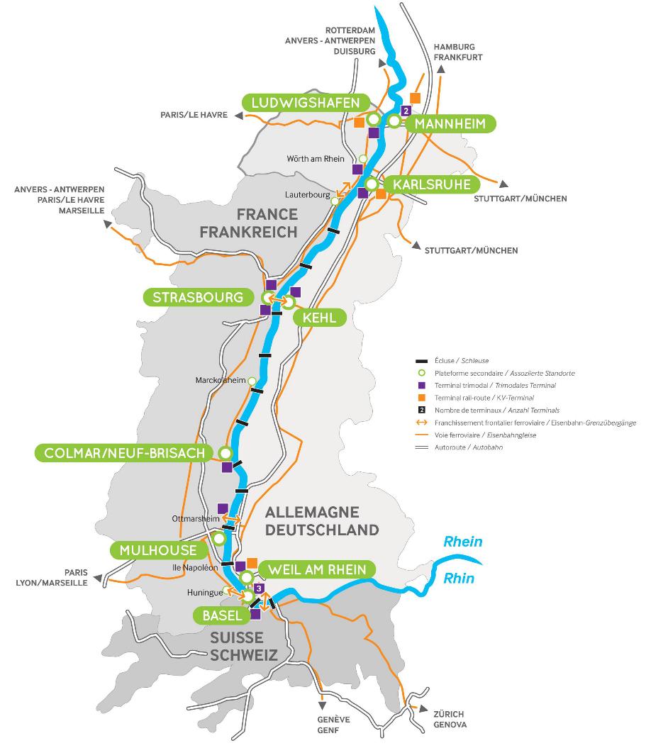 Die Partner der Upper Rhine Ports – Kooperation
