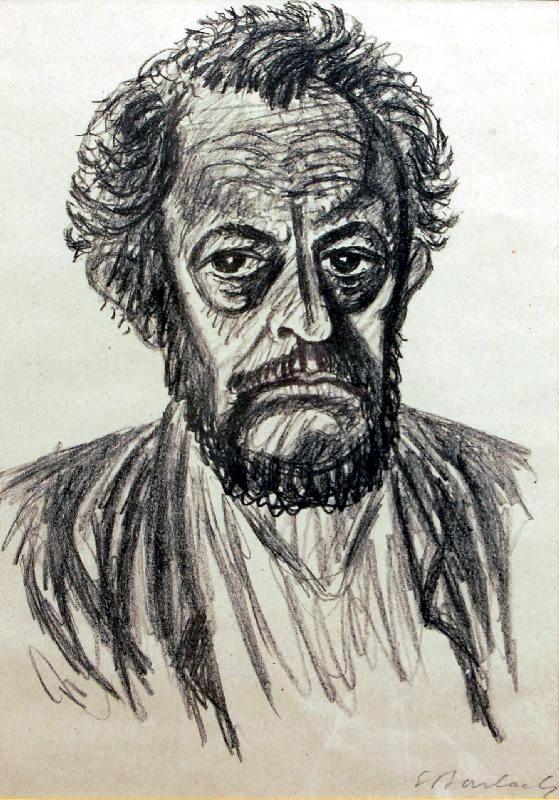 Autoportrait d'Ernst Barlach 1928 au crayon