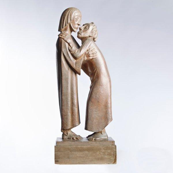 Ernst Barlach: Das Wiedersehen (Christus und Thomas). Saint Thomas relève la tête vers le Christ qu'il enlace et tend les lèvres pour l'embrasser