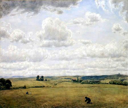 paysage de campagne en Forêt Noire. Une grande plaine avec quelques silhouettes de personnages et de maisons clairsemées au premier plan et le ciel nuageux dans les tons gris domine le reste du tableau