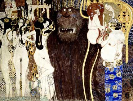 Ce panneau central de la frise de Beethoven montre d'abord les trois Gorgones, nues avec des serpents dans leurs cheveux noirs. Au dessus d'elles, une créature décharnée représente la mort. Au centre, un énorme monstre velu fait la transition vers trois femmes nues, l'une aillant le corps très disproportionné, les seins pendants, les autres, un sourire de femmes fatales.