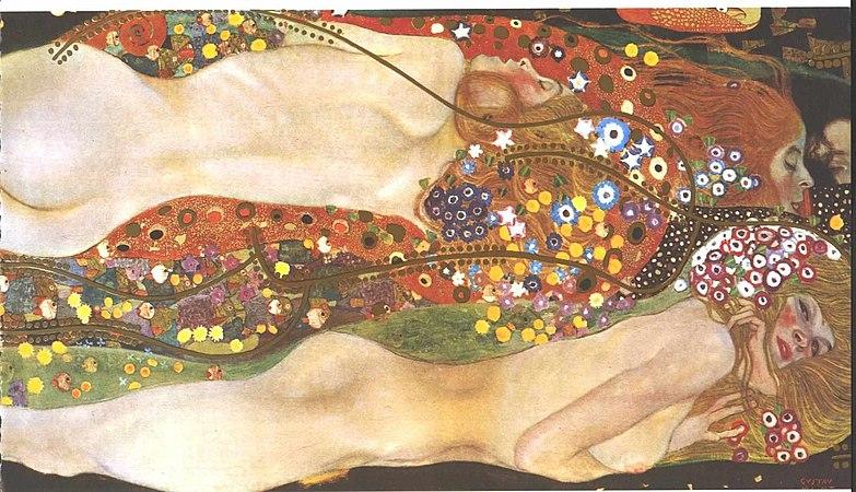 Troisjeunes femmes minces et rousses nagent entrelassées vers la droite, derrière elles, des fleurs stylisées. Celle qui est le plus en bas nous gete un regard furtif, les autres ont les yeux fermés.