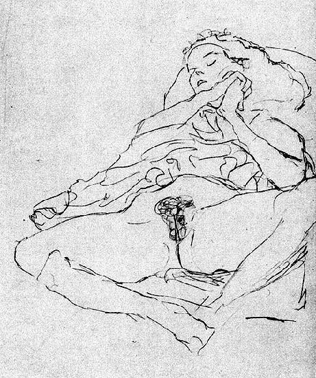 Ce dessin très simple montre une jeune fille allongée, elle ouvre les jambes et nous montre son sexe. Le haut de son corps est recouvert d'une couverture. Elle a les mains jointes et semble dormir.