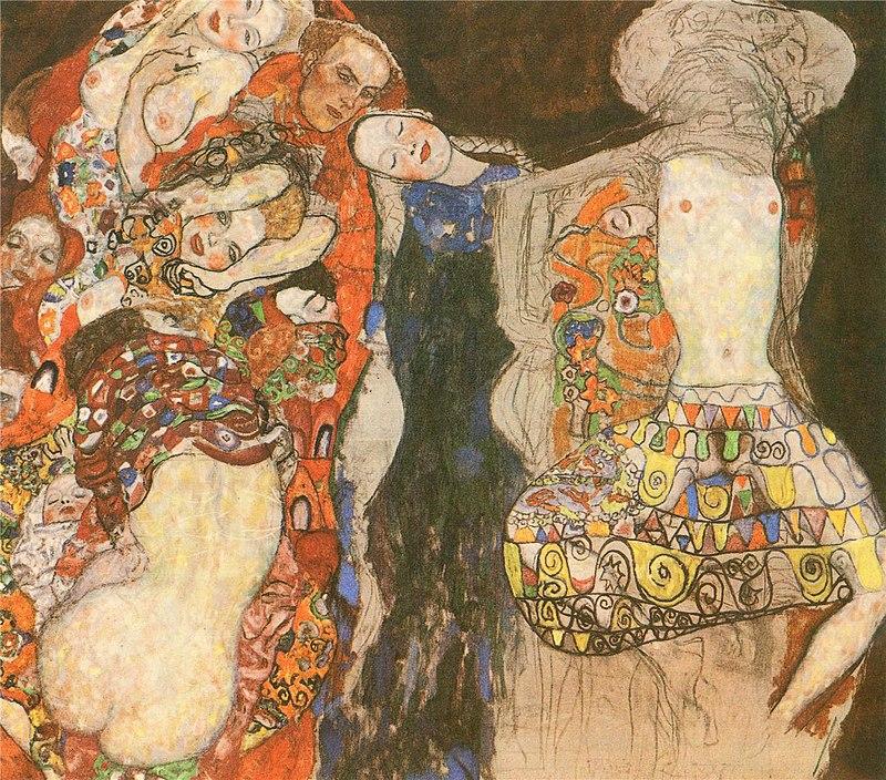 Le tableau est inachevé. À gauche, des femmes et un homme se tiennent entre-mélées, la plupart à les yeux fermés. Elles sont nues mais recouvertes de motifs rouges er oranges. Au centre, une femme vêtue de bleu s'appuie sur le groupe. Tout à droite, une femme aux seins nus, jambes écartées, se tient la tête en arrière. Les motifs de spirales ne cachent pas entièrement son sexe, visible en transparence.