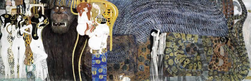 Auf dem langen Bild sind die feindlichen Gewalten: rechts stehen die drei Gorgonen, ganz nackt und mit Schlangen in den Haaren. Über ihnen der Tod und die Krankheit. Danach sieht man einen großen, haarigen Monster, der im rechten Teil des Bildes zu eine Schlange wird. In der Mitte stehen drei sinnliche und furchterregende Frauen, die die Sünden darstellen. Ganz recht steht eine gebrochene Frau in den Kurven der Schlange. Alles ist in blauen und weißen Tönen.