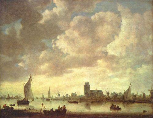 paysage fluvial avec pêcheurs au premier plan et vue sur la ville hollandaise de Dordrecht sous un ciel nuageux gris et bleu occupant les deux-tiers de la toile