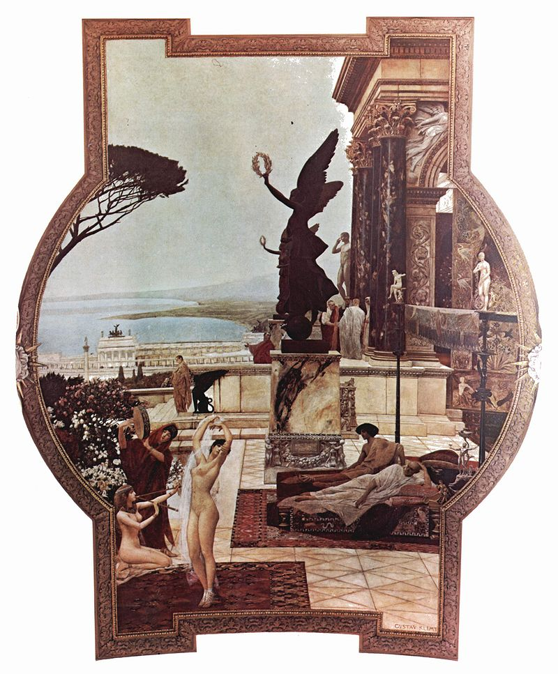 Die Marmorsäulen eines griechischen Tempels überragen das Meer. Zwei schwarze beflügelte Statuen halten ein Lorbeerkranz in die Höhe. Im Vordergrund tanzt eine nackte Frau vor liegende Heeren in Toga.