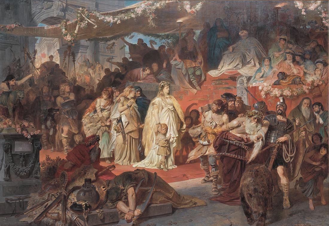 Thusnelda et son fils doivent défiler à Rome sous les yeux du général Germanicus