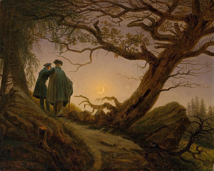 Tableau du peintre romantique allemand Caspar David Friedrich. Deux hommes de dos contemple la lune, seule source de lumière au centre du tableau. Ils viennent de gravir un chemin encadré de rochers et d'arbres à demi déracinés.