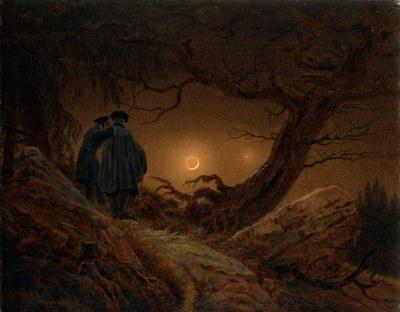 Caspar David Friedrich   Zwei Maenner in Betrachtung des Mondes (Kunsthalle Dresden)
