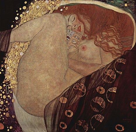 Auf dem quadratischen Bild liegt eine nackte Frau zusammengekauert. Sie ist rothaarig, ihr Mund ist halb geöffnet. Ein Schleier liegt in der unteren Bildeshälfte. Von Oben fließt ein Regen von goldenen Samen zwischen ihre Beine.