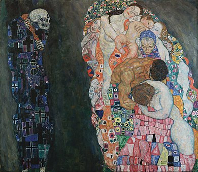 Links im Bild lauert der Tod mit einer Keule. Er ist ganz in blau angezogen, und auf sein Gewand sind viele Kreuzmuster. Der Hintergrund ist ganz schwarz. Rechts sieht man nackte Menschen von allen Hautfarben und Alter, die miteinander Kuscheln. Man sieht bunte Blumenmuster und Spiralen um sie.
