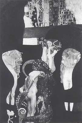 Es ist eine schwarz-weiß Fotographie von Klimts Bild. Alles ist dukel, außer drei stylisierte Frauen, die aus dem Hintergrund ragen. Sie sehen gequält aus. Im Vordergrund bückt sich ein alter, nackter Mann. Die Tentakel eines Krakens umringen ihn.
