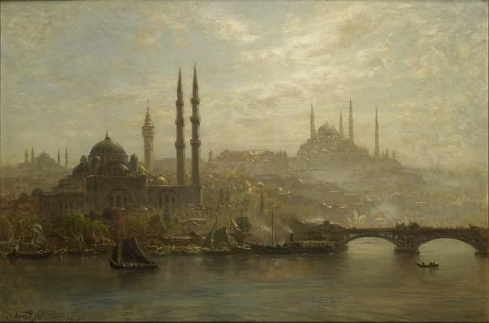 Tableau d'Ernst Koerner vue d'Istanbul tons bleus et dorés