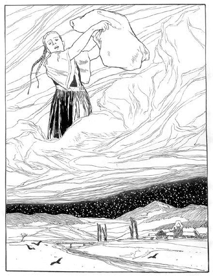dessin en noir et blanc de Goldmarie en train de faire neiger sur terre en secouant un oreiller