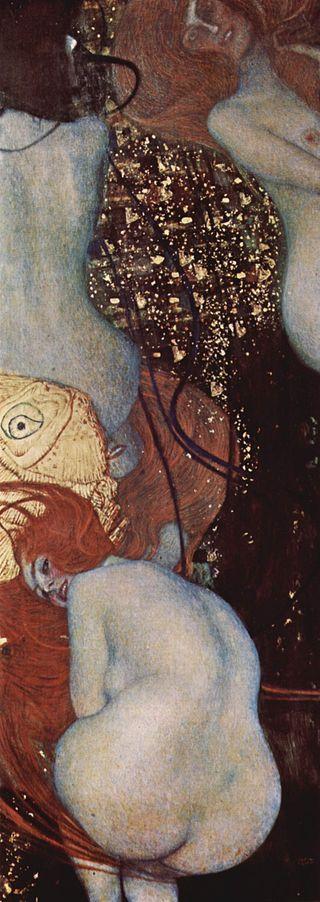 Quatre femmes nues nagent entrelassées dans un milieu aquatique. Le fond est recouvert d'or. Elles ne font pas attention au spectateur, sauf celle accroupie au premier plan, qui se retourne et nous lance u regard narquois tout en nous montrant ses fesses.
