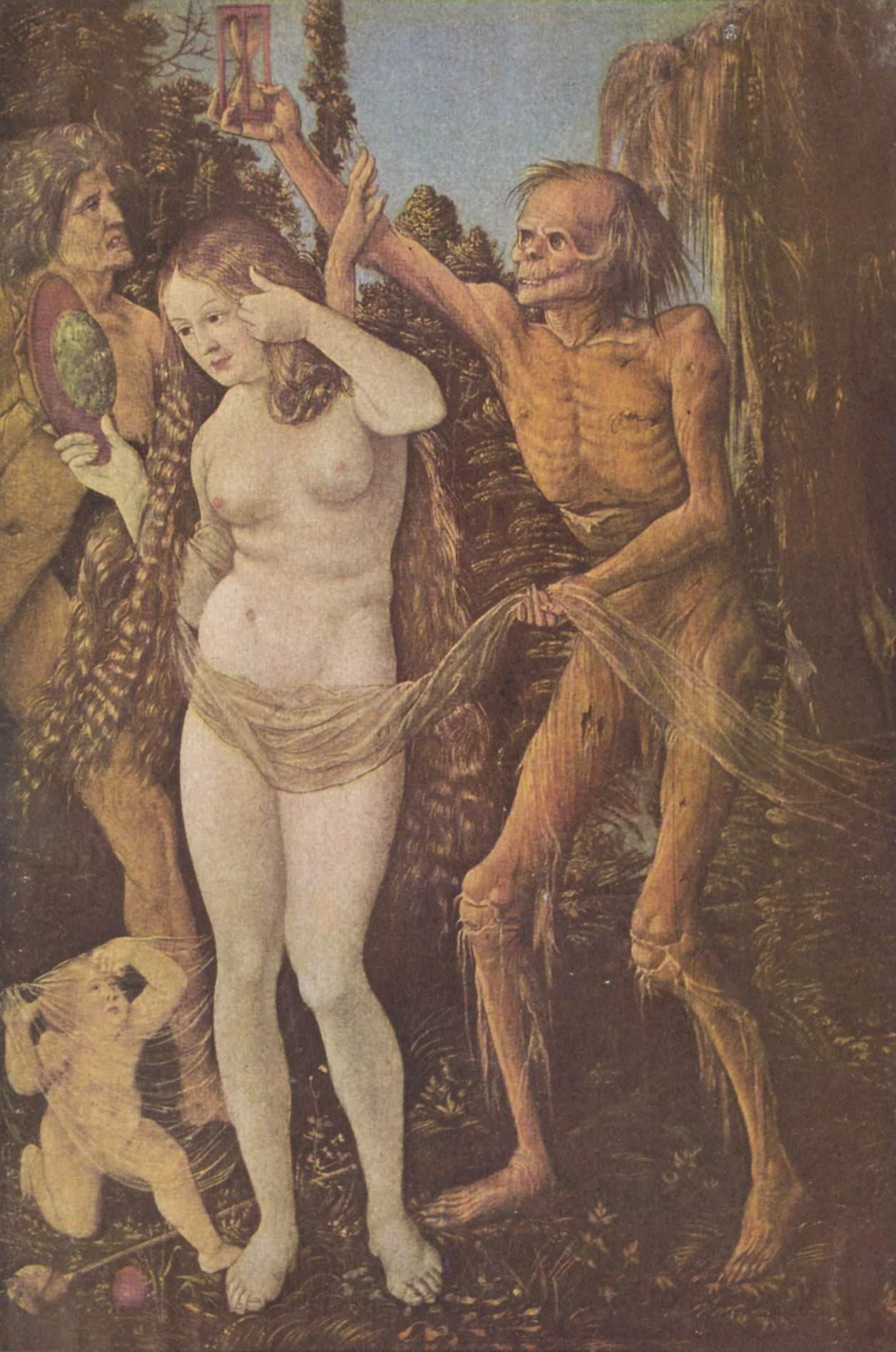 Une femme nue, blonde, aux cheveux longs, s'admire dans un miroir. A ses pieds, un enfant s'est pris dans un voile qui le relie à la femme ainsi qu'à un cadavre debout à droite. La mort tient au dessus de la tête de la femme un sablier, mais un homme nu dans la force de l'âge entre par la gauche dans l'image et écarte le bras de la mort pour protéger la femme. Le tout a lieu dans un paysage sauvage.