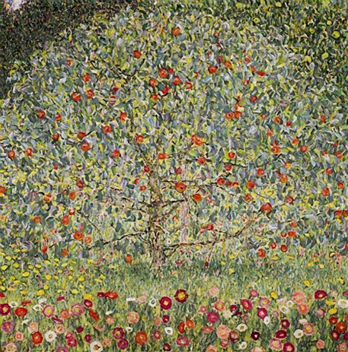 Ein großer Baum mit roten Äpfeln nimmt den ganzen Platz in einem quadratischen Bild ein. Das Bild besteht aus vielen kleinen Punkten und Strichen.