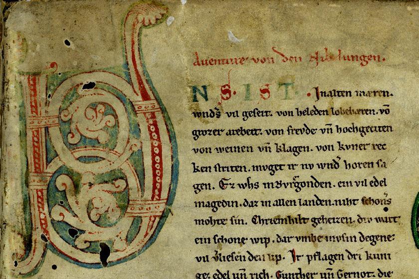 Photographie du manuscrit des Nibelungen avec enluminure