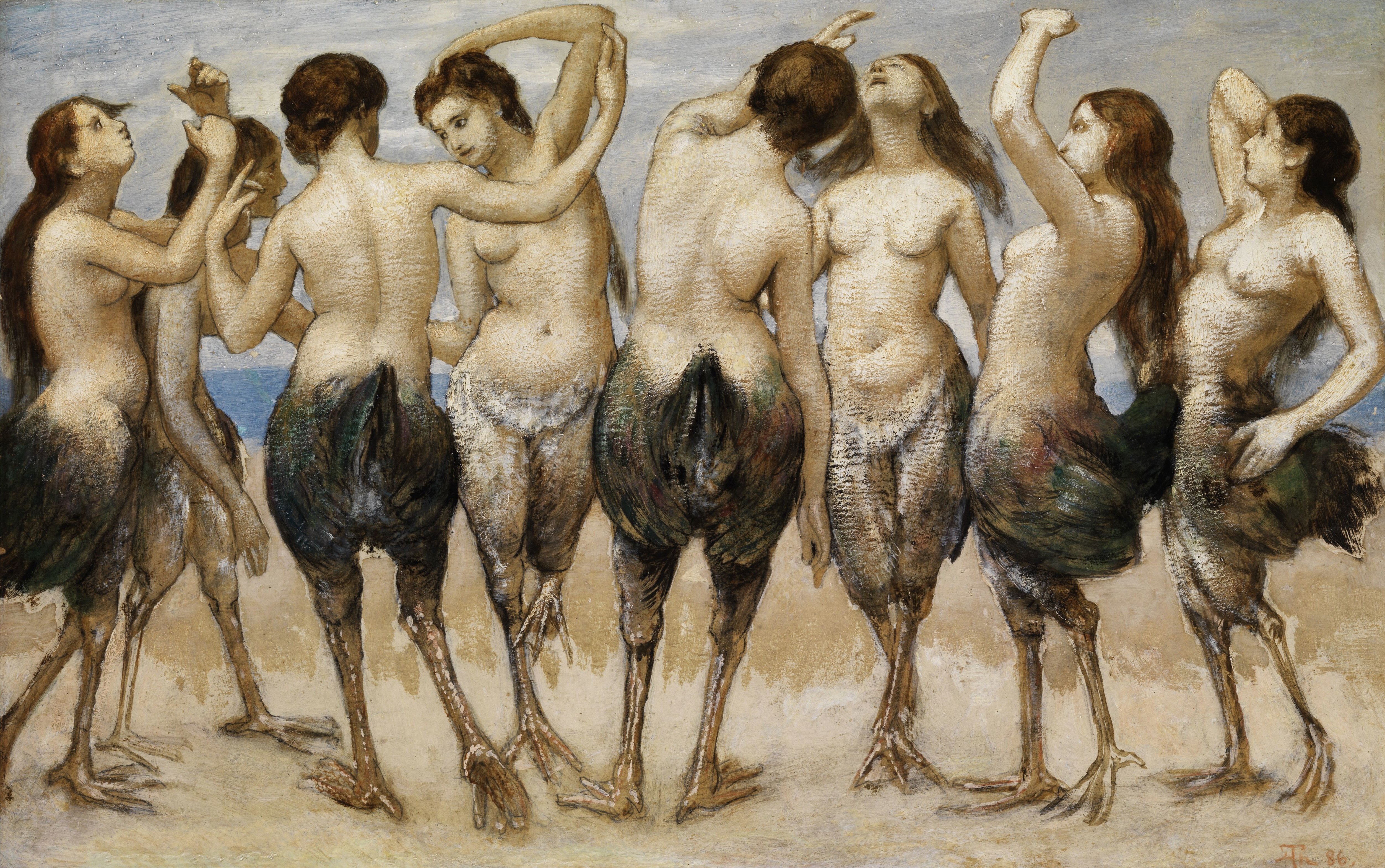 Huit femmes avec le haut du corps nu et le bas du corps d'un oiseau dansent sur le sable