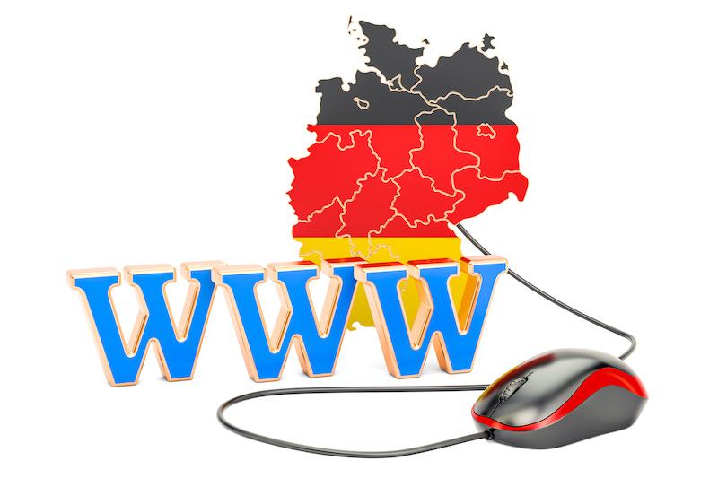 Carte d'Allemagne avec bandes noire rouge et jaune avec souris d'ordinateur