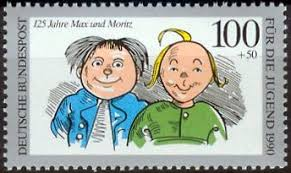 Timbre avec les portraits des garnements Max und Moritz de Wilhelm Busch