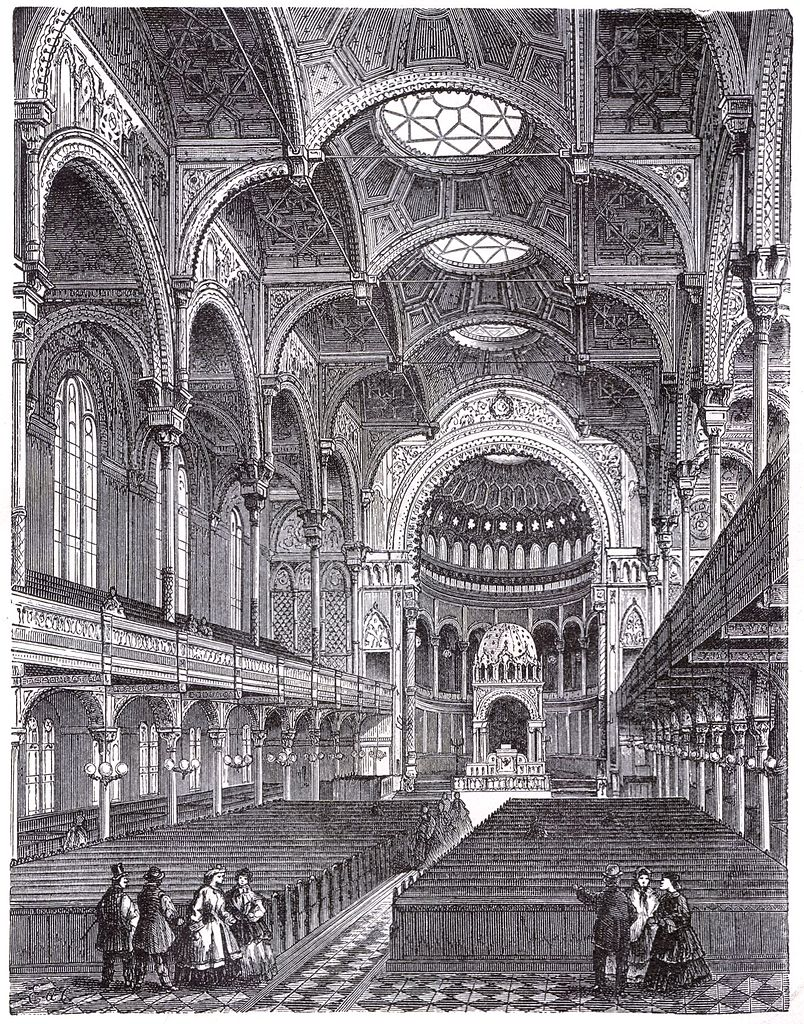 Nouvelle synagogue à Berlin, vue intérieure. Gravure.
