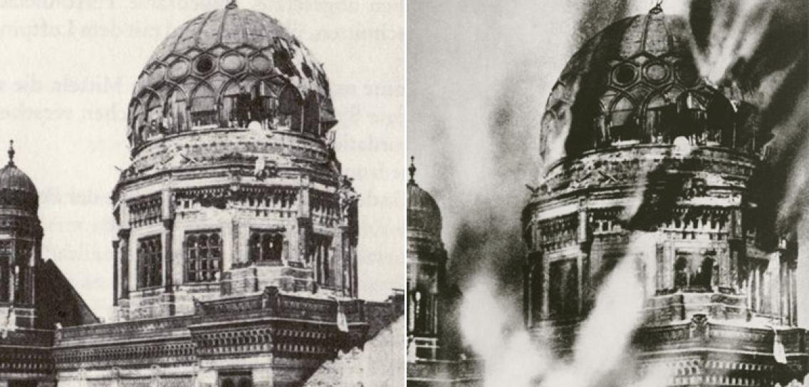 Photographie mythique de la synagogue de Berlin en flammes, devenue symbole de la nuit de cristal, alors qu'il s'agit d'une photo postérieure, retouchée