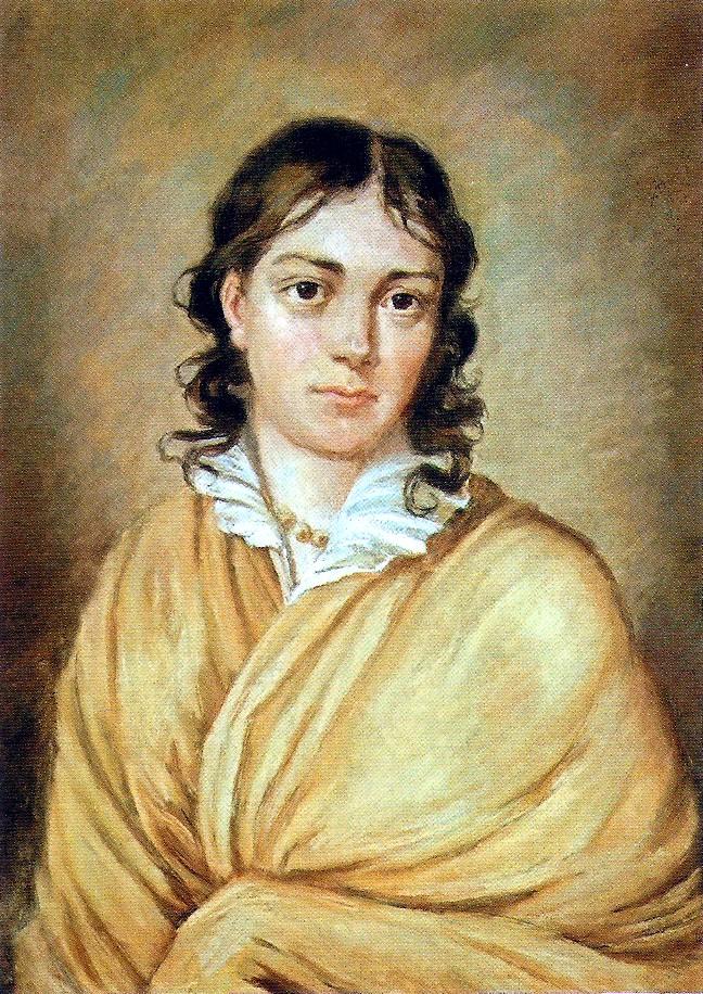 Portrait de Bettina von Arnim née Brentano, dans les tons ocre et beige. L'auteure, le haut du corps enveloppé dans un châle, les cheveux bouclés reposant librement sur ses épaules, regarde le spectateur du tableau dans les yeux.
