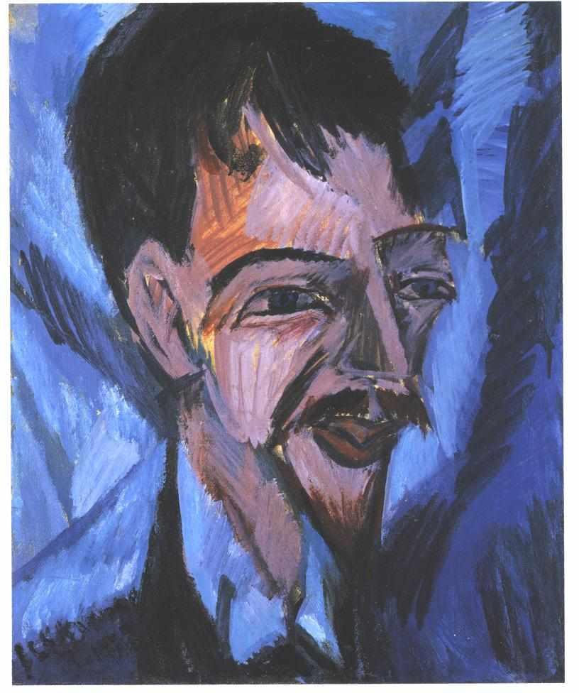 Portrait du médecin et écrivain Alfred Döblin dans le style expressionniste par Ernst Ludwig Kirchner