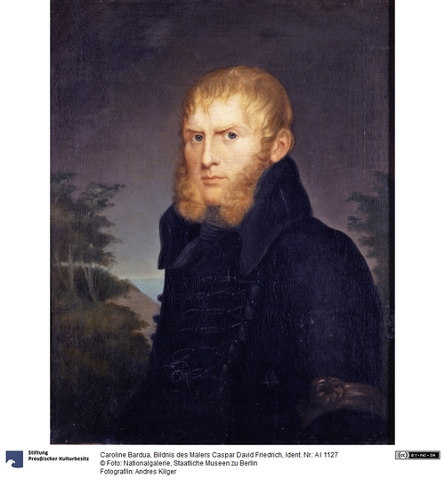 Portrait du peintre Caspar David Friedrich vêtue d'une redingote foncée. Le peintre regarde le spectateur droit dans les yeux, son visage est fermé et encadré de ses cheveux et longs favoris blonds roux