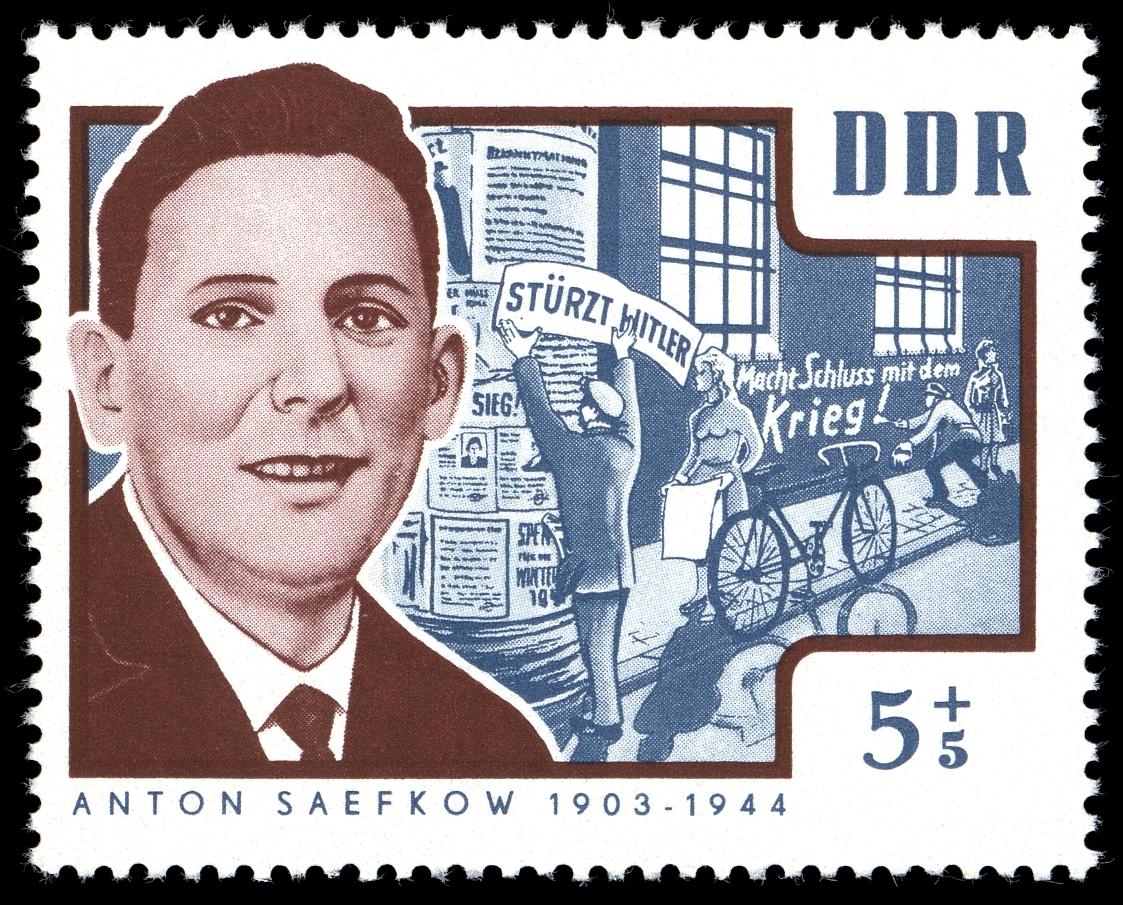Timbre de RDA à l'effigie du résistant communiste au nazisme Anton Saefkow