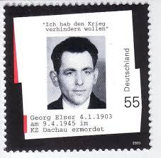 timbre à l'effigie du résistant allemand Georg Elser auteur d'un attentat contre Hitler