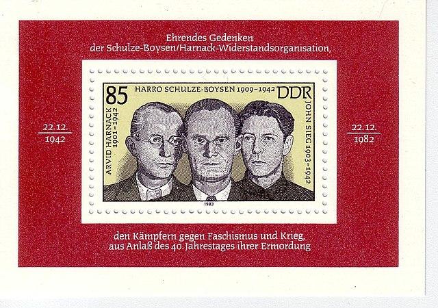 Timbre est-allemand à l'effigie des résistants allemands au nazisme du groupe Rote Kapelle