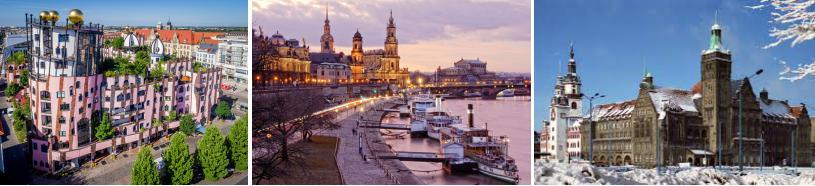trois photos côte à côte: le bâtiment de la citadelle verte de Hundertwasser à Magdeburg et les centre-villes de Dresde et Chemnitz