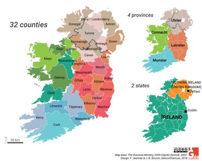 carte irlande comtes provinces EN