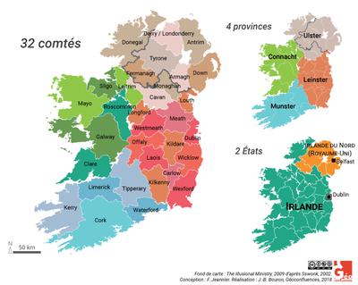 fig 1 carte irlande comtes provinces