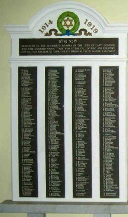 Plaque de commémoration des morts à la guerre d'une des synagogues de Londres