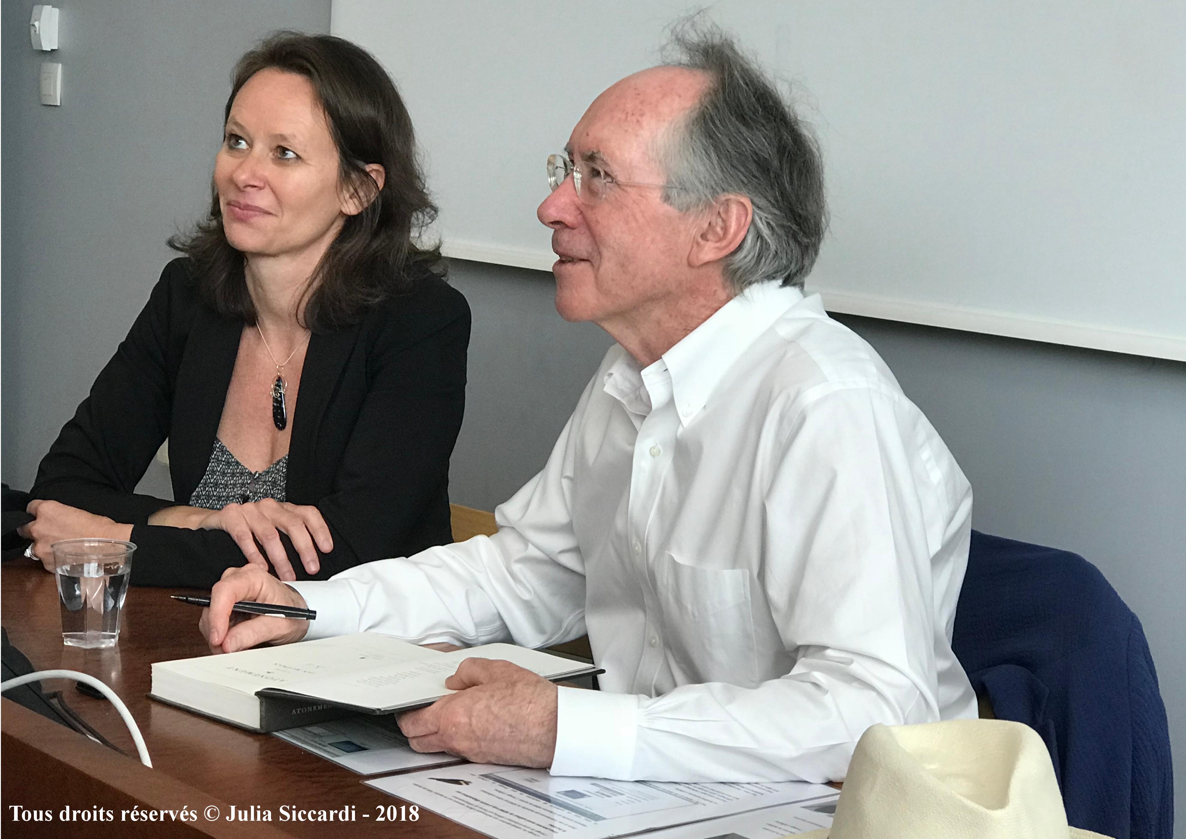 Vanessa Guignery et Ian McEwan lors de la séance de dédicace - ENS de Lyon, 22 mai 2018