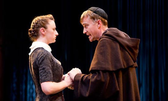 """""""Sex, lies and conjuring tricks: Jodie McNee and Raymond Coulthard in Measure for Measure at the Swan, Stratford-upon-Avon."""" Photograph © Tristram Kenton for the Guardian."""