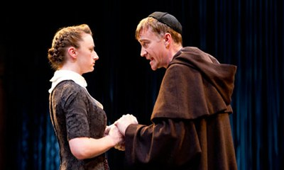 """Sex, lies and conjuring tricks: Jodie McNee and Raymond Coulthard in Measure for Measure at the Swan, Stratford-upon-Avon."" Photograph © Tristram Kenton for the Guardian."