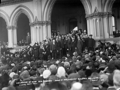 Politicians and a crowd, outside Parliament Buildings, upon the declaration of war with Germany