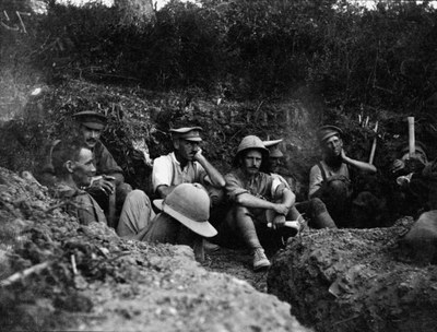 Soldiers occupying a trench during the Gallipoli campaign