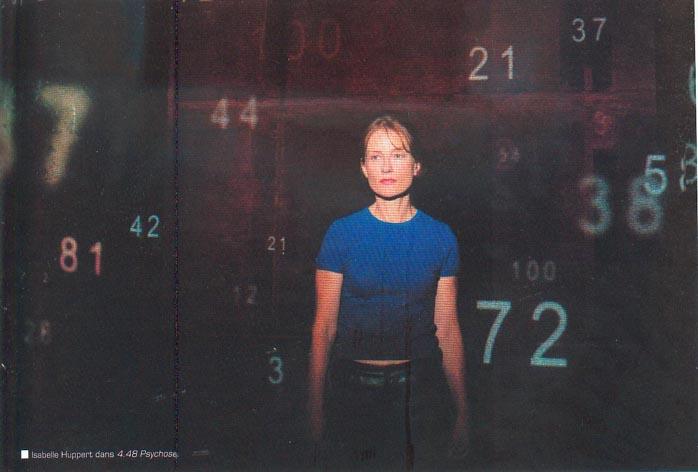 Isabelle Huppert dans 4.48 Psychose, mise en scène par Claude Régy