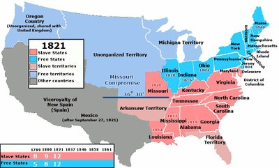 US SlaveFreeStates 1821