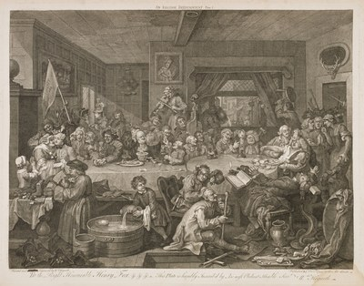 William Hogarth - Four prints of an election - An election entertainment